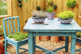 table with plants